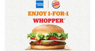 1-for-1 Burger King Whopper with AMEX cards