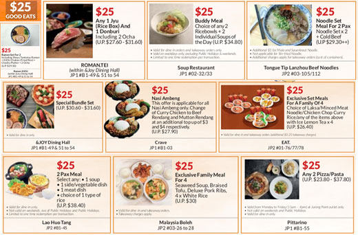 Jurong Point 25 years Celebration -  Exclusive $25 Menus